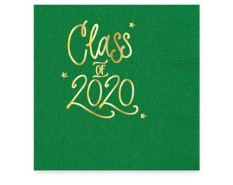 2020 Graduation | Napkins (Green + gold foil) - In-Stock!