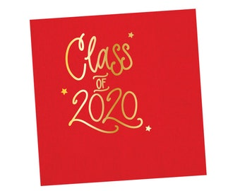 2020 Graduation | Napkins (red + gold foil) - In-Stock!