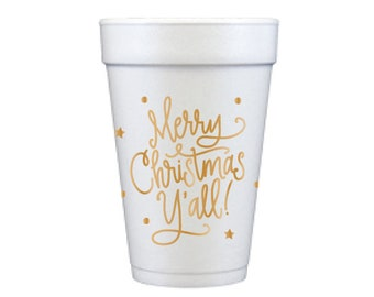 Foam Cups | Merry Christmas Y'all (gold)