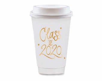 2020 Graduation   To Go Coffee Cups - Gold (in-stock!)