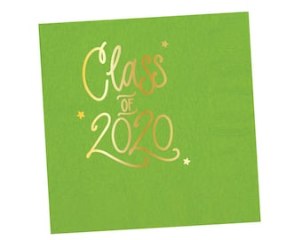 2020 Graduation | Napkins (lime green + gold foil) - In-Stock!