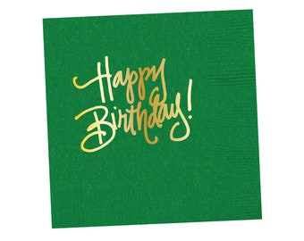 Napkins | Happy Birthday - Kelly Green (in stock)