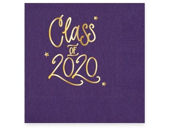 2020 Graduation | Napkins (Purple + gold foil) - In-Stock!