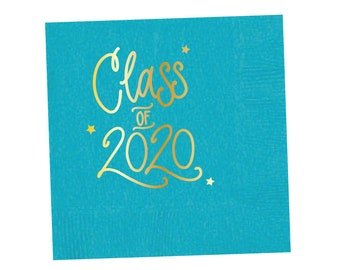 2020 Graduation | Napkins (turquoise + gold foil) - In-Stock!
