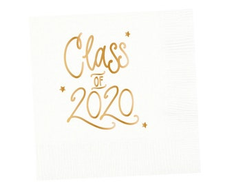 2020 Graduation | Napkins (white + gold foil) - In-Stock!