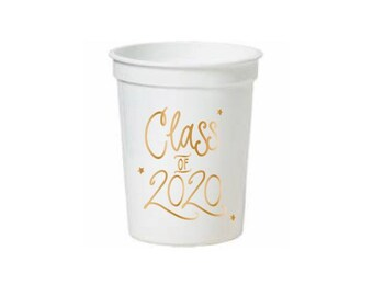 Class of 2020 | Stadium-Style Cups  (16 oz.) - WHITE & GOLD (in-stock!)
