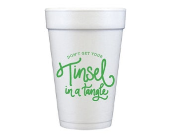 Foam Cups | Tinsel in a Tangle (green)