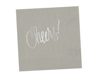 Napkins | Cheers (grey with silver foil)
