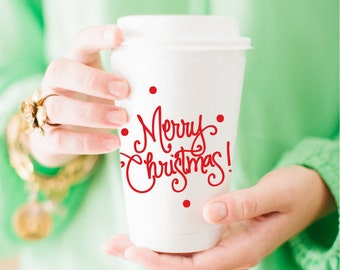 Merry Christmas! with Dots Coffee Cup - Assorted Red + Green (Set of 10)