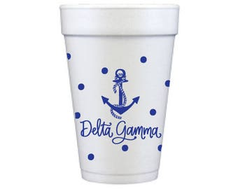 Delta Gamma with Dots | Foam Cups  (Qty 12)