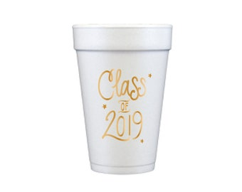 Graduation Foam Cups - GOLD INK (in-stock!)