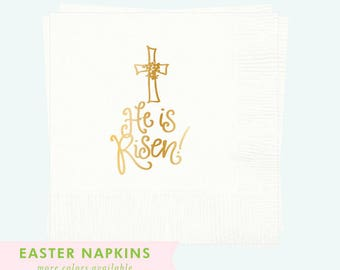 Napkins | He is Risen (white / gold)