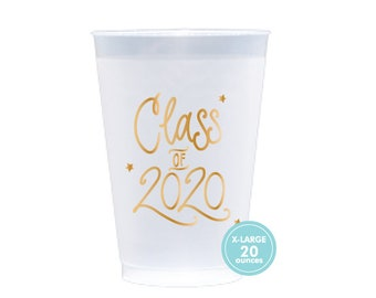 2020 Graduation | Frost Flex Cups (20 oz. - Large!) - GOLD INK (in-stock!)