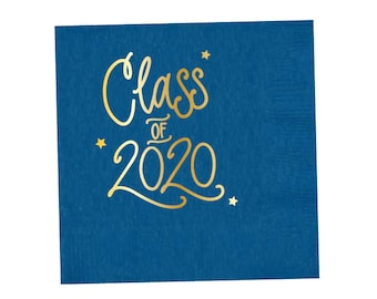 2020 Graduation | Napkins (royal blue + gold foil) - In-Stock!