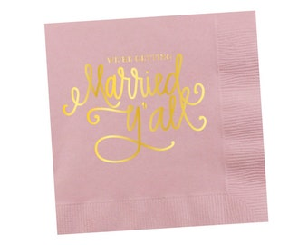 Napkins | We're Getting Married Y'all - Light Pink (in stock)