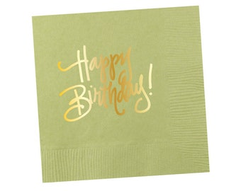 Napkins | Happy Birthday - Mint Green (in stock)