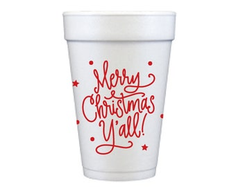 Foam Cups | Merry Christmas Y'all (red)
