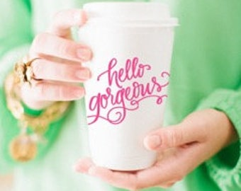 To-Go Coffee Cups | Hello Gorgeous (pink)