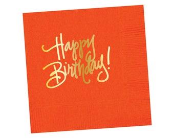 Napkins | Happy Birthday - Orange