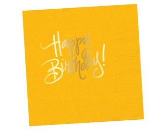Napkins | Happy Birthday - Yellow