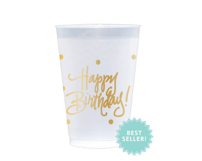 Featured listing image: Frost Flex Cups   Happy Birthday (gold)