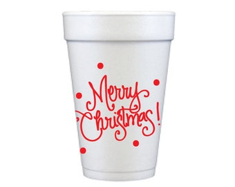 Foam Cups | Merry Christmas (red)