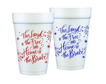 Foam Cups   4th of July (red & blue)