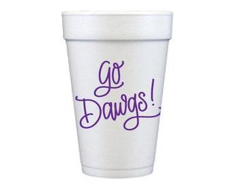 GO DAWGS | Foam Cups (purple)
