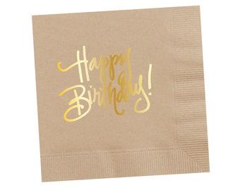 Napkins | Happy Birthday - Tan
