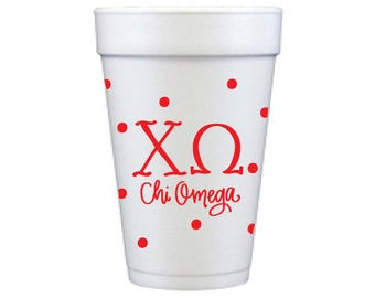 Chi Omega with Dots | Foam Cups (Qty 12)
