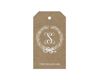 Monogram Wreath Tags - Personalized!