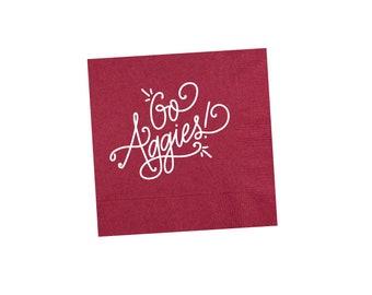 GO AGGIES   Napkins (maroon)