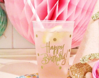 Happy Birthday Cups (reusable) - Qty 12