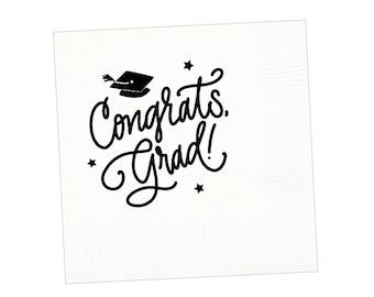 Congrats, Grad! | Napkins (white + black)