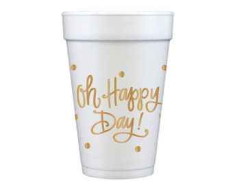 Foam Cups | Oh Happy Day! (gold)