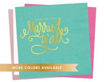 Napkins | We're Getting Married Y'all - Pink (in stock)