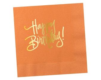 Napkins   Happy Birthday - Peach-y Orange