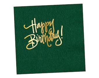 Napkins   Happy Birthday - Hunter Green
