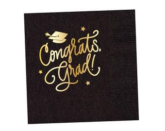 Congrats, Grad! | Napkins (black + gold foil)