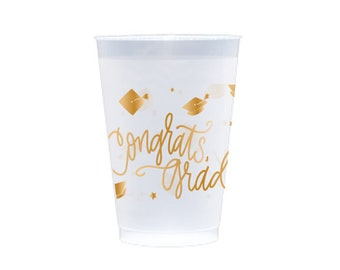 Congrats, Grad! | Frost Flex Cups  (12 oz.) - GOLD INK (in-stock!)
