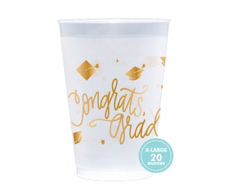 Congrats, Grad! | Frost Flex Cups  (20 oz. - Large!) - GOLD INK (in-stock!)