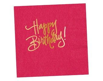 Napkins | Happy Birthday - Hot Pink (in stock)