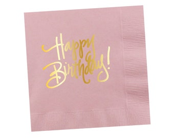 Napkins | Happy Birthday - Light Pink (in stock)