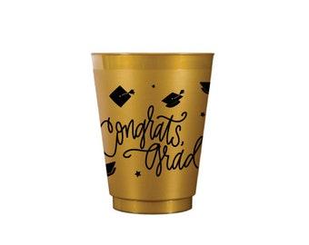Congrats, Grad! | Reusable GOLD Frost Flex Cups (16 oz.) - (in-stock!)