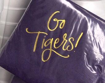 GO TIGERS | Napkins (purple)