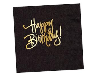 Napkins | Happy Birthday - Black (in stock)