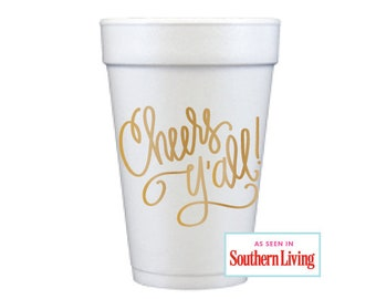 Foam Cups | Cheers Y'all (gold)
