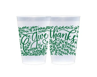 Frosted Cups   Give Thanks (green)