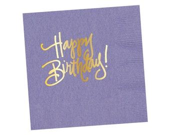 Napkins   Happy Birthday - Lavender (in stock)