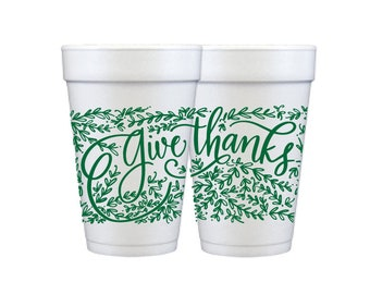 Foam Cups   Give Thanks (green)
